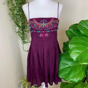 Free People Vintage Embroidered Bib Festival Dress